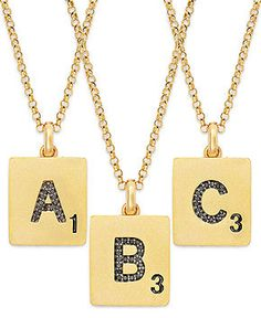 Scrabble™ 14k Gold over Sterling Silver Black Diamond Accent Initial Pendant Necklaces - Necklaces - Jewelry & Watches - Macy's