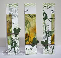 StampingMathilda: tall skinny cards. She makes beautiful cards from the scraps on her desk, EVERY SUNDAY. Sunday Scraps.
