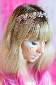 Kaleidoscope Glitter Hearts Hair Band Glitter Hair por beauxoxo