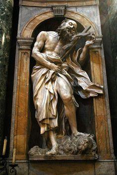 Statue of St Jerome by Gian Lorenzo Bernini Chigi Chapel, Siena Cathedral, Siena, Italy. Bernini Sculpture, Sculpture Art, Catholic Art, Religious Art, Statues, Carpeaux, Gian Lorenzo Bernini, Art Ancien, Cemetery Art
