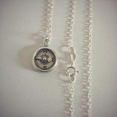 Compass Necklace, Sterling Silver Chains, Pocket Watch, Arrow, Washer Necklace, Online Shopping, Etsy, Accessories, Jewelry