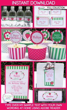 Strawberry Shortcake Party Invitations & Decorations - full Printable Collection - EDITABLE text you personalize at home - INSTANT DOWNLOAD