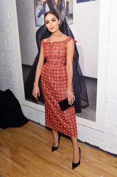 Olivia Culpo posese backstage at the Zac Posen collection during, New York Fashion Week: The Shows on February 14, 2017 in New York City.