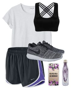 """""""Sitting in class after finishing my math final """" by morgan-lagerstom ❤ liked on Polyvore featuring Monki, NIKE, Casetify and S'well"""