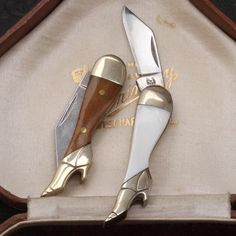 These super-weird mini penknives remind me of pervy gentlemen's novelties from the Victorian era. Pre-internet porn, this was one of the best things available - and portable - I guess. They're made in two colors of bone with brass rivets. The blades are sharp steel, so be careful.     Materials: bone, stainless steel, brass.   Age: contemporary.   Size: 2