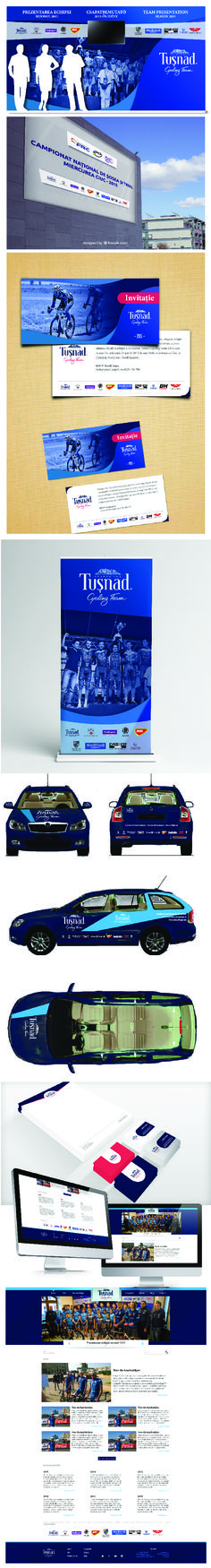 Jersey - Press wall - Outdoor banner - Invitation - Car sticker - Web design for Romania Continental Cycling Team