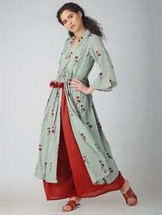 Green Block-printed Cotton Cape