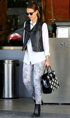 leather vest and floral pants
