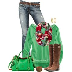 Casual Red & Green, created by shannonmarie-94 on Polyvore