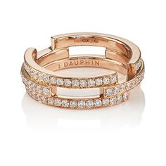 DAUPHIN Women's Small Volume Ring (5,835 CAD) ❤ liked on Polyvore featuring jewelry, rings, gold, polish jewelry, pave setting ring, dauphin, 18k jewelry and band jewelry