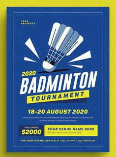 Badminton Tournament Event Flyer by vynetta on Envato Elements Graphic Design Flyer, Poster Design Layout, Event Poster Design, Brochure Design, Flyer Design, Event Design, Event Posters, Event Poster Template, Event Flyer Templates