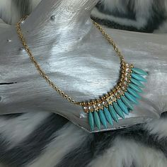 "Trendy Necklace NWOT Brand new  Trendy and intriguing this necklace features precious Faux turquoise stone beads, sparkling silver rhinestone details, gold metal.   18""inch necklace with 3""extension Gold chain Jewelry Necklaces"