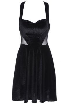 Mesh Pannel A-line Pleated Black Dress 19.37