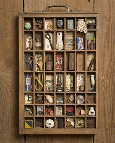 Vintage Printer's Tray, one of most favourite activities collecting little stuff Altered Boxes, Altered Art, Shadow Box, Shadow Frame, Letterpress Drawer, Objets Antiques, Printers Drawer, Printer Types, Displaying Collections