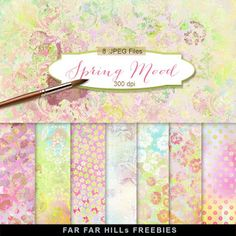 New Freebies Kit of Backgrounds - Spring Mood:Far Far Hill - Free database of digital illustrations and papers