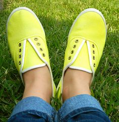Dyed canvas shoes. How fun for summer! I might take on this project today.