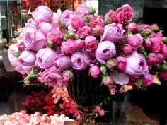 Beautiful Bouquet Of Peonies. My Flower, Fresh Flowers, Pretty In Pink, Beautiful Flowers, Pink Flowers, Pink Roses, Purple Peonies, Colorful Roses, Deco Floral