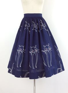 50s Cat Print Skirt / 1950s Vintage Novelty by CheshireVintageShop