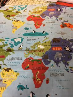 Julie Ordered 1 yrd from Etsy BuckarooBlankets  $12,00 Hello World Map of the World Fabric