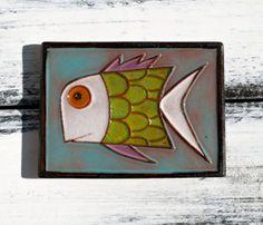 Decorative Ceramic Fish Painting  Green Fish Beach Decor by Romova, $15.00