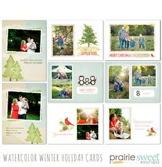 Watercolor Winter Holiday Cards Photoshop Templates Collection by Prairie Sweet Boutique