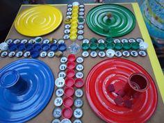 1º Educación Primaria: parchís - reciclado con tapones - numero.