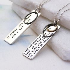 Mantra Tag Silver Necklace  Personalised Sterling Silver by Soremi