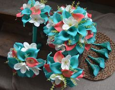 Wedding Designs Turquoise Blue Coral Wedding Bouquets Real Touch Callas Lilies Ivory White Plumerias Wedding Package - This wedding package contains: Brides bouquet, about Main turquoise callas, with coral callas Turquoise Coral Weddings, Coral Blue, Coral Turquoise, Turquoise Bridesmaids, Bridesmaid Bouquet, Wedding Bouquets, Wedding Flowers, Wedding Dresses, Coral Wedding Decorations