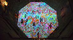 "Artist Miguel Chevalier's digital installation ""Magic Carpets"" creates kaleidoscope on Italian castle's courtyard"