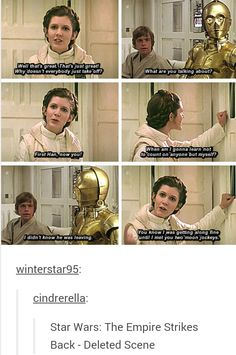 deleted scenes from Empire Strikes Back- Leia depending on hetself Star Wars Film, Star Trek, Star War 3, The Force Is Strong, Carrie Fisher, Star Wars Humor, Love Stars, Reylo, Long Time Ago