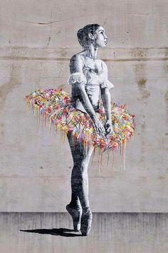 Street Art Ballerina, Oslo, by Whim & Fantasy photo by Roy Olsen