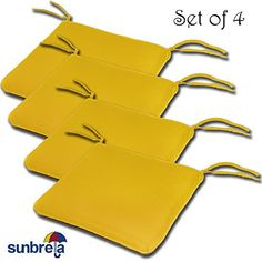 SET OF 4 20W x 19Dx 2.5H Sunbrella Indoor/Outdoor Knife Edge style seat pad cushion in Sunflower by Comfort Classics Inc. Made in USA. For product & price info go to:  https://all4hiking.com/products/set-of-4-20w-x-19dx-2-5h-sunbrella-indoor-outdoor-knife-edge-style-seat-pad-cushion-in-sunflower-by-comfort-classics-inc-made-in-usa/