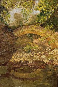 Briedge in the woods - Nikolaos Lytras Greece Painting, Name Paintings, 10 Picture, Greek Art, Art Database, Chiaroscuro, Artist Painting, Impressionism, Architecture Art