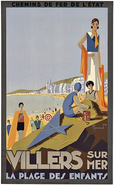 Pierre Commarmond ~ Villers sur Mer, France 1920 vintage beach travel poster
