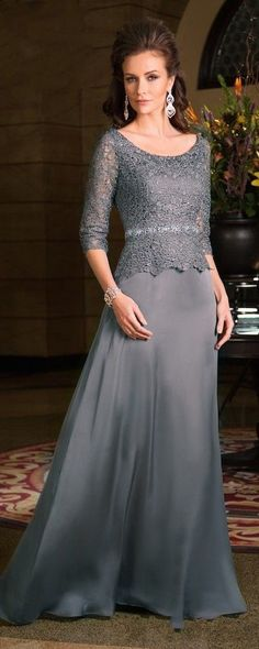 Plus Size Scoop Neck 3/4 Sleeves Chiffon Lace Gray 2015 Mother Of The Bride Dresses $126