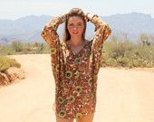 vintage batwing top/dress with green floral pattern