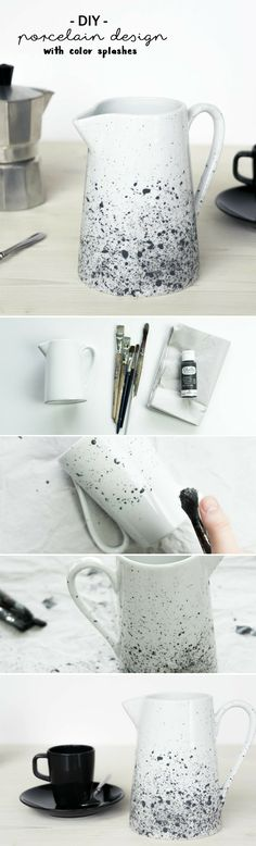 DIY Porzellan bemalen: Milchkrug mit Farbsprenkeln gestalten & den Oster Tisch a… Paint DIY porcelain: make a milk jug with speckles of paint & spruce up the Easter table Pottery Painting, Ceramic Painting, Diy Painting, Porcelain Painting Ideas, Art Café, Diy Cadeau Noel, Diy Tableware, Diy Décoration, Easter Table