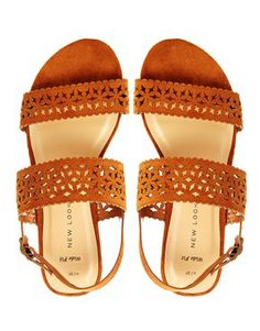 Image 3 of New Look Gala Wide Fit Laser Cut Double Strap Flat Sandals