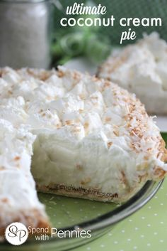 Ultimate Coconut Cream Pie!  This is amazingly delicious!!  # coconut #pie