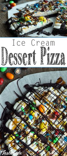 Ice Cream Dessert Pizza With Oreos, vanilla ice cream, hot fudge and M&M's, this might be the sweetest pizza ever. Ice Cream Pizza, Oreo Ice Cream, Ice Cream Desserts, Vanilla Ice Cream, Frozen Desserts, Frozen Treats, Brownie Pizza, Pizza Cake, Dessert Pizza