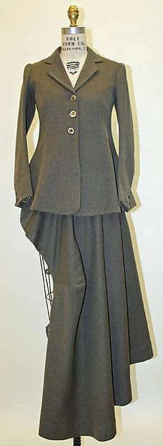 Riding habits often had a skirt draped on one side and jackets similar to mens.  These outfits were function and allowed for movement when riding horses.