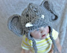 Elephant Hat - Baby Elephant Hat - Baby Elephant Costume Hat - Baby Hats - Baby Halloween Costume - baby gift, homemade gift, hat, knit, kids costume, girls costume, Halloween, diy decor, diy Halloween costume, adult costume, animal costume, tutu, owl, cute costume, baby costume, creative Halloween costume, homemade costume #afflink