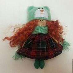 Купить Вязаная кукла - Машуня - тёмно-зелёный, крючком, подарок, подарок на любой случай