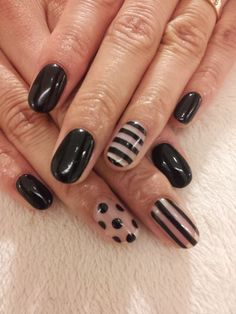 Black and transparent spots and stripes accent #nails #manicure