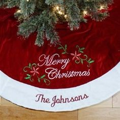 embroidered merry christmas tree skirt christmas treeskirt personalized embroidered