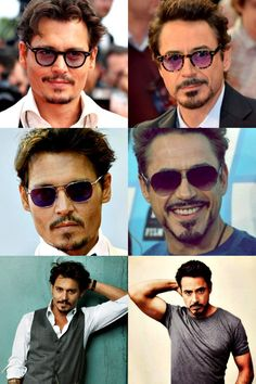 Is it just me or do Johnny Depp and Robert Downey Jr look alike? I mean besides their beards. Anyway that'd be so cool if they could make a movie together. But I like Johnny Depp way more😉😏 Robert Downey Jr., Sherlock Holmes Robert Downey, Hot Actors, Actors & Actresses, Holmes Movie, Iron Man Movie, Johny Depp, Iron Man Tony Stark, Downey Junior