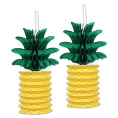 Pineapple Paper Lanterns - 25.4cm - Pack of 2. Kitsch, retro, tropical, Caribbean party ideas & inspiration