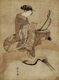 Harunobu, Suzuki (1725-1770) Woman reading a letter while riding a crane; Parody of Fei Zhangfang