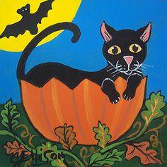 BLACK CAT PUMPKIN Halloween KITTY KITTEN Moon Art Original Painting J ELLISON | eBay