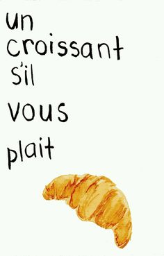 Items similar to A croissant, please! French Pastry Postcard - Watercolor & Hand Lettering on Etsy